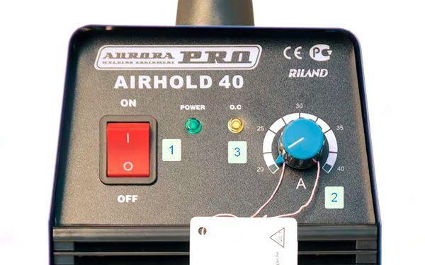 Элементы управления на передней панели Airhold 40