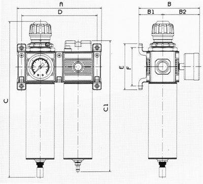 С1 - 255 мм. D - 147 мм