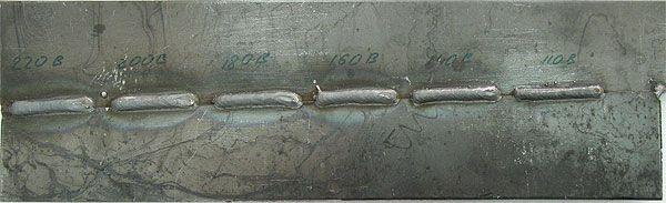 Образец сварки MobiMIG при напряжении 220В-110В